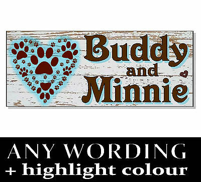 Personalised NAME Dog / Cat SIGN Plaque house garden Kennel cattery run bowl bed