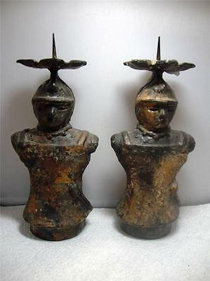 Very Cool Vintage Pair Cast Iron Samurai Soldier Candleholders