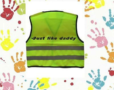 Childrens Girls Boys Personalised Hi Vis Vest Any Name Text Font Colour