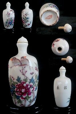 CHINESE  PORCELAIN  SNUFF BOTTLE HANDWORK RELIFE SIZE 8.5x3.5cms LOT8932