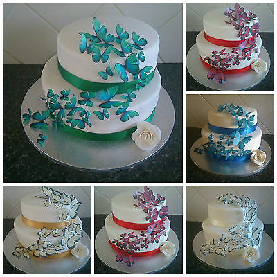 Wedding Cake Toppers Edible Butterfly Decorations MULTIPLE COLOURS Butterflies