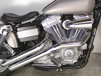 "New Radii Chrome Drag Exhaust System Pipes 2 1/4"" 1991-2017 Harley Dyna"