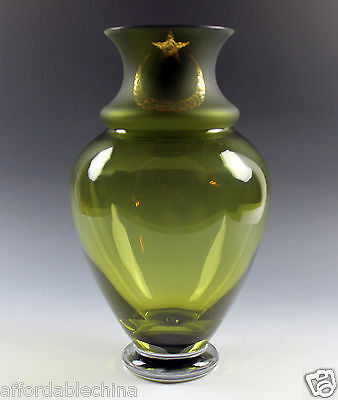 "Pasabahce Turkish Art Glass Large Limited Edition Green Gold Vase - ""AYYILDIZ"""