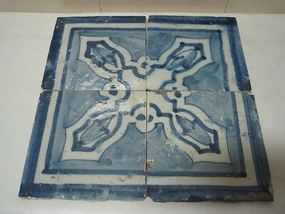 Antique old 18 Century tiles lot of four Portuguese Original rare Portugal