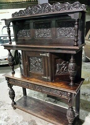"19th C carved flemish oak court cupboard "" Arts and CRAFTS "" buffet sideboard"