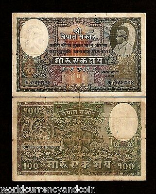 NEPAL 100 MOHRU P4a 1945 1st SIGN KING RHINO LARGE SIZE CURRENCY MONEY BILL NOTE