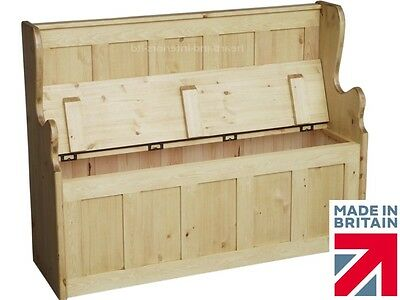 Solid Pine Monks Bench, 4ft Wide Lifting Lid, Hallway Shoe Storage Seat, Settle