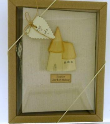 East of India Linen Christening Photo Album Boxed Shabby Chic Wood Church