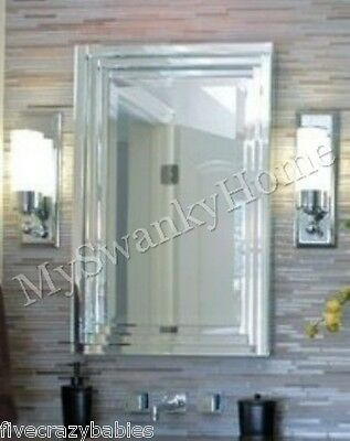 Dazzling Layered Glass Frame FRAMELESS Wall Vanity Mirror Horchow Contemporary