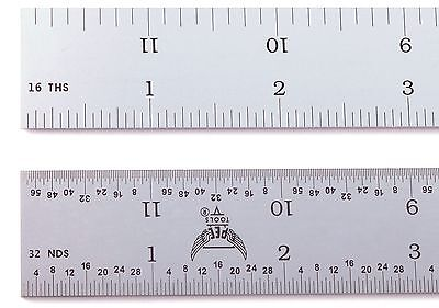 "Blem Cosmetic Second PEC 12"" Rigid Satin 4R machinist ruler 1/8 1/16 1/32 1/64"