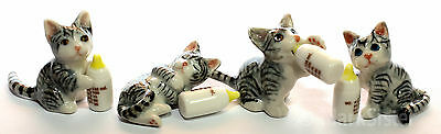 Figurine Animal Ceramic Statue 4 Cat Kitten Brown with Bottle - CCK025