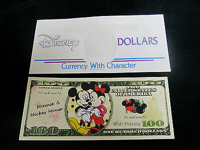 Novelty $100 Bill* Minnie & Mickey Mouse * & Disney Dollars Envelope .