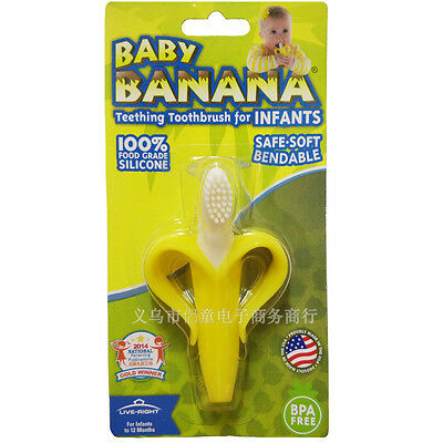 Infants Baby Toddler Kid Soft Safe Toy Teether Banana Teething Toothbrush Toy 0+
