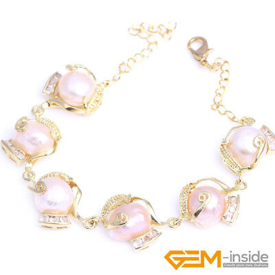 Gold Plated Freshwater Pearl Bracelet Adjustable size Bridal Bangle  Hand Chain