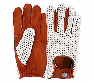 Classic English Leather Driving Gloves Crochet String Back Chauffeur Vintage men