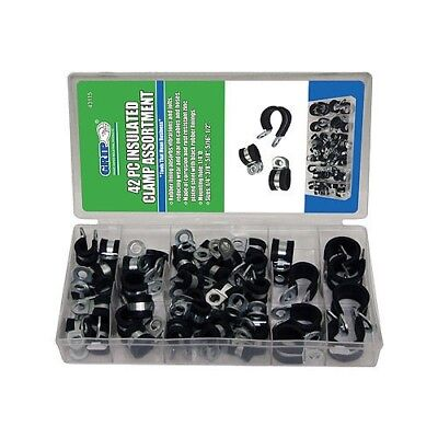 """42pc GRIP Rubber Insulated Clamps Assortment Set 1/4"""" 5/16"""" 3/8"""" 1/2"""" 5/8"""" 43115"""