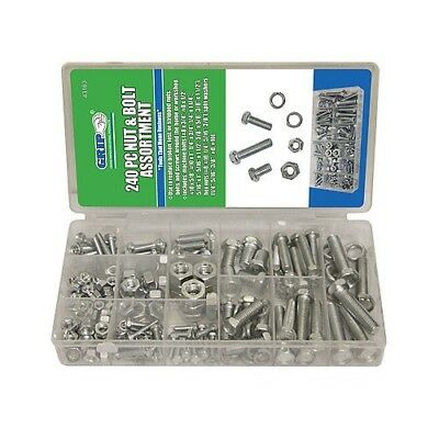 240pc GRIP SAE Nuts & Bolts Assortment Kit Washers Hex Machine Automotive 43163