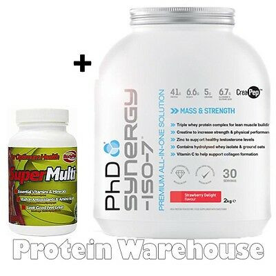PhD Synergy ISO-7 2kg Whey Protein + Super Multi 60 Vitamins