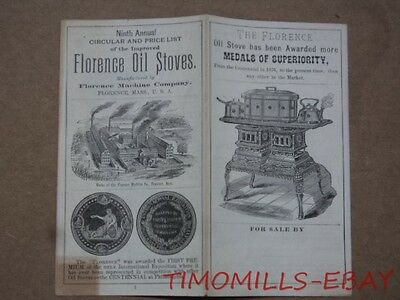 1884 Florence Machine Co. Oil Cooking Heating Stove Catalog Antique Original MA