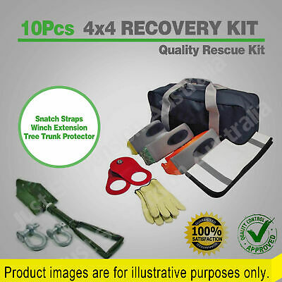 10 PIECE 4x4 FULL RECOVERY KIT WINCH SNATCH STRAP SHACKLES BLOCK 4WD RESCUE BAG