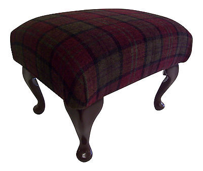 """Lana Tartan Footstool on 9"""" Queen Anne Legs ** 7 Colours available**"""