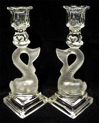 Stunning Pair of Moulded Glass Dolphin Vintage Candlesticks