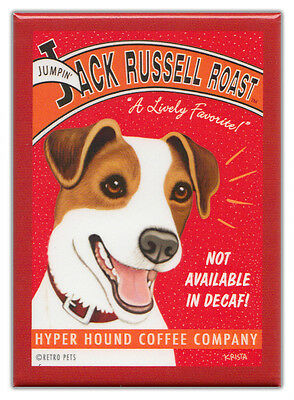 Retro Dogs Refrigerator Magnets: JACK RUSSELL | COFFEE | Vintage Advertising Art