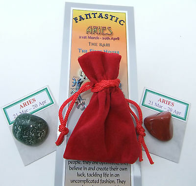ARIES-Bookmark-Birthstones-Red Velvet pouch- book 'Astrology the Secret Code'