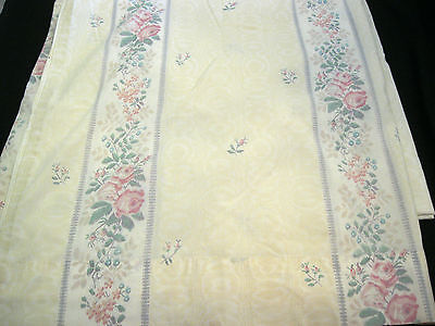 Vintage Lady Pepperell Pink Roses Stripe Full Double Flat Top Percale Sheet