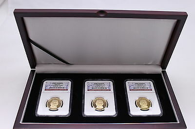 Wood Display Box for 3 Certified Coin Slabs, PCGS or NGC Slabs, Velvet Lined