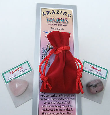 TAURUS-Bookmark-Birthstones-Red Velvet pouch-'Astrology the Secret Code' book