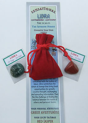 LIBRA-Bookmark-Birthstones-Red Velvet pouch-'Astrology the Secret Code' book