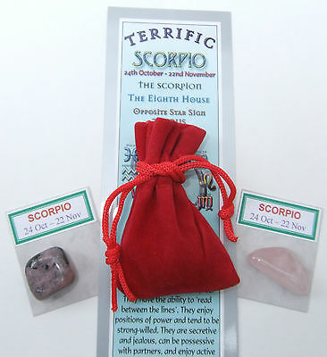 SCORPIO-Bookmark-Birthstones-Red Velvet pouch-'Astrology the Secret Code' book
