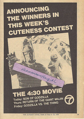 1973 MONSTER MOVIE TV GUIDE AD CLIPPING SON OF GODZILLA GIANT MAJIN  & MORE