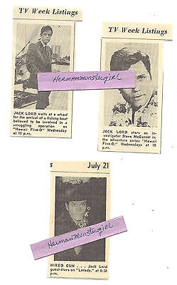 3 SMALL JACK LORD TV GUIDE ADS CLIPPINGS TWO 1969 HAWAII FIVE-O 1966 LAREDO