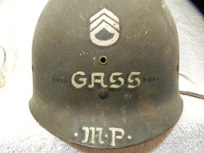 Vintage GASS  WW2 Helmet Shell MP Painted Estate Find!