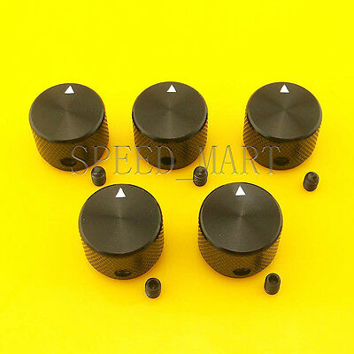 5 PCS High Precision Full Aluminum Knurled Knob + ser screw for CD Player Black