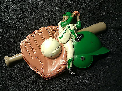 Wall Plaque Baseball Player-Bat-Glove-Ball-Helmet-Burwood-Homco-Sports #3213-3