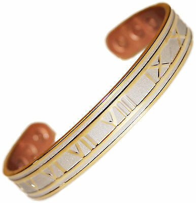 Magnetic Mens Bracelet Chunky Copper Silver Roman Numeral Arthritis Magnetic Bio