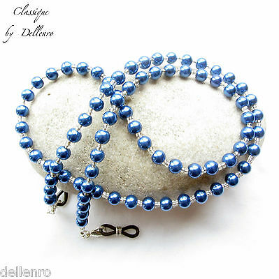 Classique. Blue Beaded Glass Pearl Eyeglass Necklace  Spectacles Chain Holder