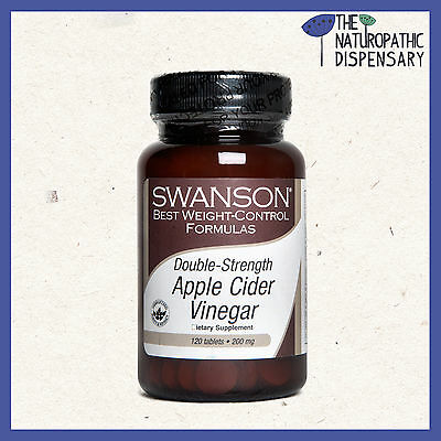 DOUBLE STRENGTH APPLE CIDER VINEGAR. 120 TABLETS 200 mg SWANSON