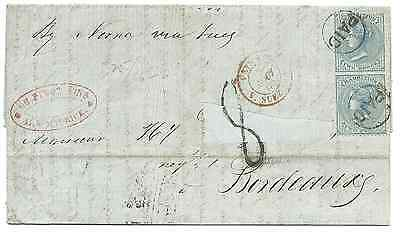 MAURITIUS 1860 ENTIRE ADDRESSED TO BORDEAUX FRANKED BY A PAIR OF NO WAT 2d BLUES