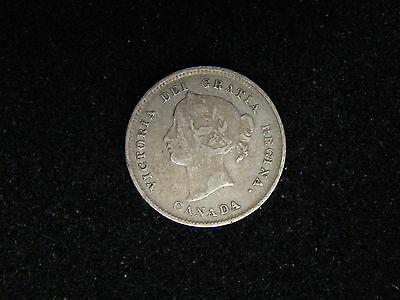 1896 Canada 5 Cents Silver - Young Victoria