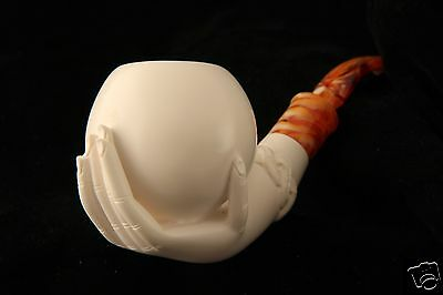 Lady's Hand Holding an Egg Genuine Block Meerschaum Pipe in a fitted CASE 6059