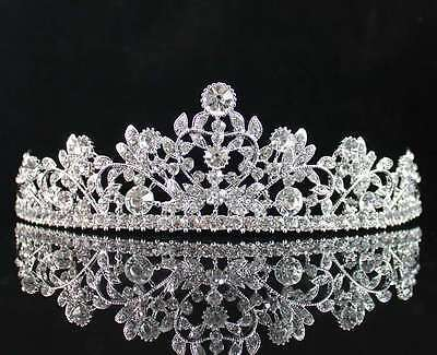Vine Heart Clear Austrian Rhiestone Crystal Hair Tiara Crown Bridal Party T1761