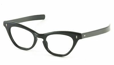 VINTAGE 1950's SHINY BLACK CATEYE EYEGLASS FRAMES HAND MADE NOS DEADSTOCK 48mm