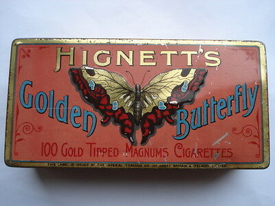 C1910 VINTAGE HIGNETT'S GOLDEN BUTTERFLY 100 GOLD TIPPED MAGNUMS CIGARETTES TIN