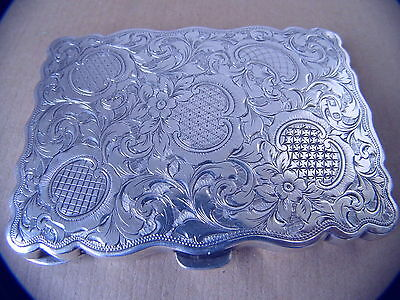 EXCELLENT BEAUTIFUL VICTORIAN STERLING SILVER AIDE MEMOIR/ CARD CASE 1898