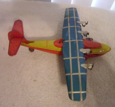 RARE Chein Tin Litho Wind Up Airplane China Clipper Pan American Airways System