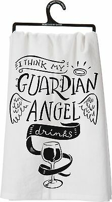 """I Think My Guardian Angel Drinks"" Tea Towel, Primitives by Kathy"